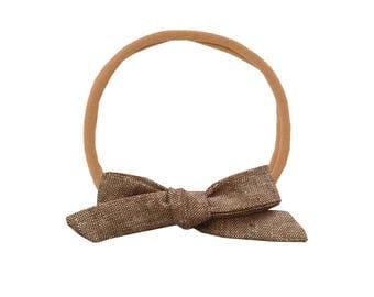 Linen Schoolgirl Bow /// Nutmeg