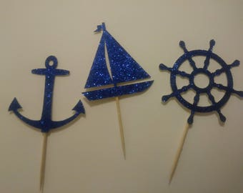Set of 12 Glitter Nautical Cupcake Toppers, Nautical baby shower decor, anchor cupcake toppers, Boy baby shower cupcake toppers