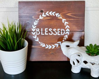 Blessed sign, blessed wood sign, blessed painting, rustic wood decor, wood sign, white paint wood sign, religious wood sign, wood art, sign