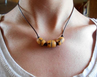 Yellow Vintage Trade Bead Leather Necklace