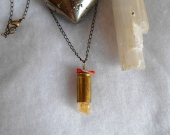 Bullet 9mm Pendant Necklace With Citrene and Coral