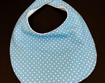 Baby Boy's Bib, Infant's Bib, Terry Cloth Backed Baby Bib, Blue Polka Dot Baby Bib, Baby Shower Gift, Infant Boy's Bib, Terry Cloth Baby Bib
