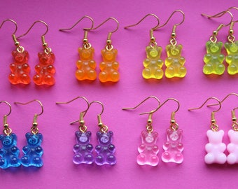 Gummy Bear Earrings || Resin gummi bear food candy sweets - Available in red, orange, yellow, green, blue, purple, pink & opaque pink