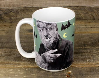 Wolfman MUG Scary Movies Gifts for Him Horror Lovers Lon Chaney bats Goth girl gift Werewolf Larry Talbot collector mug Classic Monsters