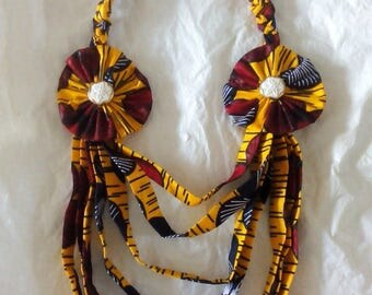 Long Yellow African Print Fringe Necklace