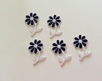 Set of five flowers white and blue appliqué embroidery stick iron