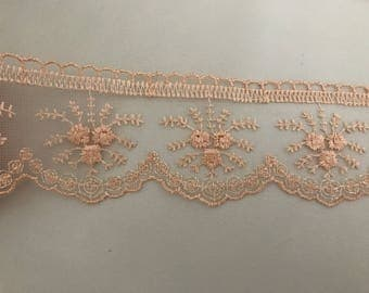 Ribbon lace tulle salmon approx 6 cm