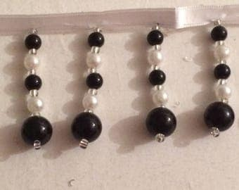 Black and white beaded color stripe