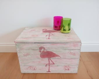 Apple box with lid, chest, storage box, Flamingo, Sidetable, chalk color, wood box, wood crate