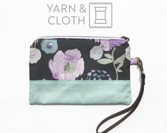 Wristlet Clutch - Purple and Black Floral Print