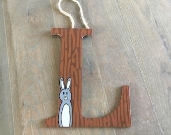 Rabbit woodland letters, woodland nursery decor, woodland animals, woodland baby shower, woodland party, woodland birthday decor, forest