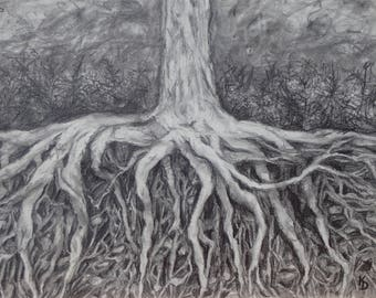 Roots framed drawing by Kyla Dante