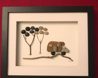 RV pebble art/ camping/ camper/ rock art/ framed art/unique gift