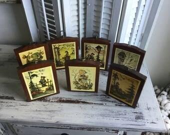 Set of 7 Hummel Pictures ~ Vintage Hummel Plaques ~ Wood