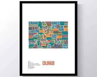 Colorado Typography Print by Mappinners