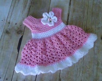 Baby Dress, Crochet Baby Dress, Pink Baby Dress, Coming Home Dress, Baby Shower Gift, Dress for Baby Girl, Infant Dress,Vestido de Bebe Nina