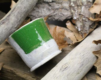 White Mug, with Green Square 8oz