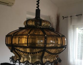 Old lamp ceiling light from the 40s early 50s glass