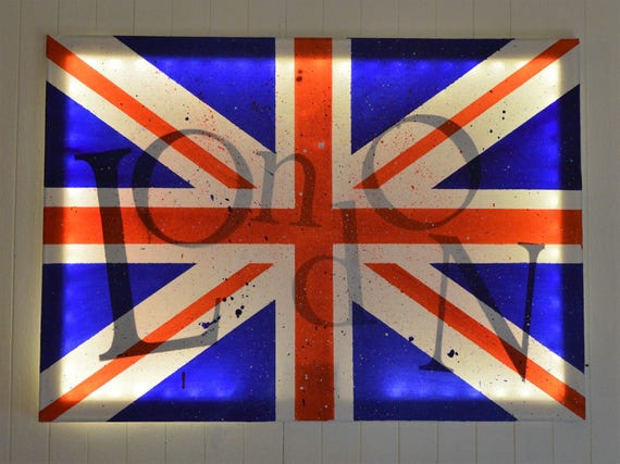 tableau lumineux led 39 drapeau anglais union jack. Black Bedroom Furniture Sets. Home Design Ideas
