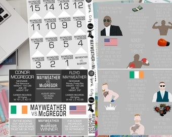 MAYWEATHER vs. MCGREGOR FIGHT Planner Stickers