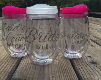Bridal Party Customized Stemless Wine Tumblers--Multi-pack Discounts Available!