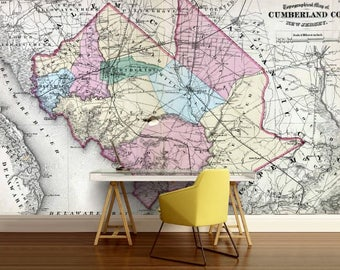 New Jersey map wallpaper, old map wall mural, old Cumberland map wallpaper, city map wall decal, antique map, old map wallpaper, street map