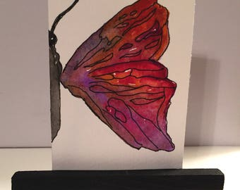 Original ACEO watercolor, Mini easel painting,  Butterfly original, artist trading card, ATC, Desk Art, pen and ink, cheerful mini painting