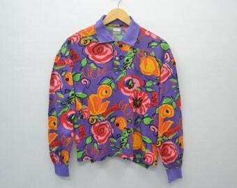 ENRICO COVERI Shirt Vintage Enrico Coveri Sport Multicolor Fullprint Flower design Shirt Womens Size M