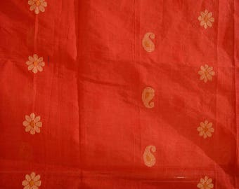 Handwoven pure Tant cotton saree using jamdhani technique- Free shipping in US
