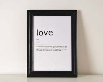 Love Definition Print. Inspirational Quote Print.Wall Art. Motivational Life Quote. Typography Art. Monochrome Print. Home Décor. Wall Décor
