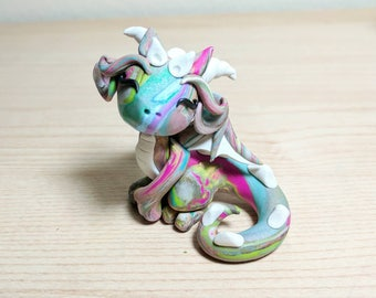 Polymer Clay Dragon - Bella the Scrap Dragon - Cute Multi-Color Swirled Mythical Creature Fantasy Sculpture - OOAK Hand Made FREE SHIPPING