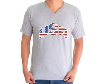 USA Flag Inside V-neck T shirts USA Men's Shirts Tops Independence Day American Flag shirt America shirt
