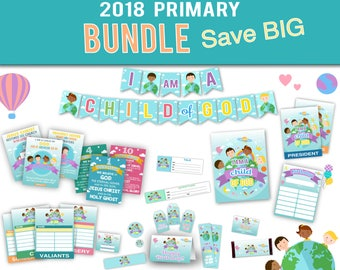 Primary LDS 2018 BUNDLE Save BIG, Bulletin Board Set + Monthly Poster Set + Classes Signs Set + Special Occasions Set + Extras, Printable