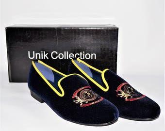 Men Embrodery Velvet Slippers loafer Shoes