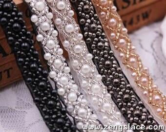 pearl beaded Trim/bridal sash trim/jewelry trim/pearl beading trim/luxury trim/heavy beading trimming/bead strip/DL-23