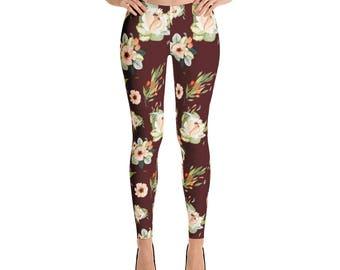Fall Floral Maroon Leggings