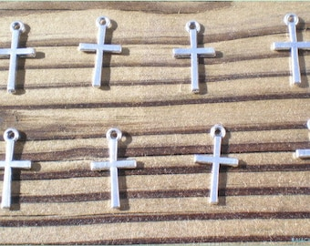 Silver Cross Charms, Cross Charms, Set of 12, Charm Findings