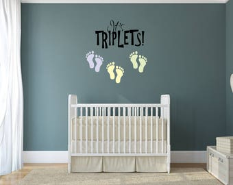 It's triplets! Multi Colored Decal Nursery, Children, Home and Family Vinyl Wall Quote
