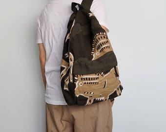 Brown Mudcloth Backpack/Bogolan Textile/Korhogo Cloth/Rucksacks