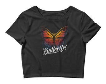 Butterfly Women's Crop Teem Shirt Colorful Print