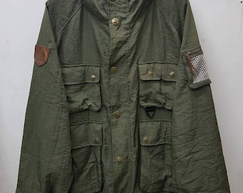 Vintage Tommy Hilfiger Hooded Army Style Jacket Large Size