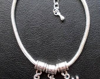 H-Spades-W Euro Bracelet or anklet - 9 inch + 1 inch extender