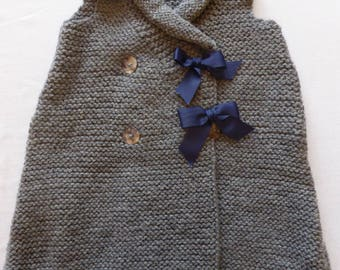 Grey knit with Blue Ribbon Bunting