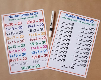 Number Bonds to 20,   Numeracy Poster and Worksheet, EYFS, KS1, Teaching Resource, Learning Resource, educational, home schooling, maths