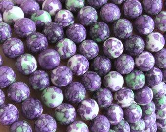 Mosaic Turquoise, 8mm beads, full strand, purple turquoise beads, green beads, white, turquoise, 8mm beads, green turquoise, round