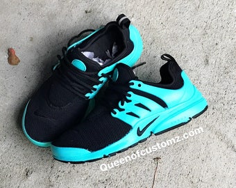 Turquoise  and Black Nike Presto Custom