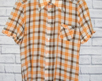 "Size S 38"" vintage 70s dagger collar slim fit shirt orange/brown check (IA36)"