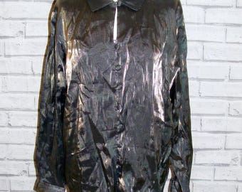 Size 20 vintage 90s long sleeve loosefit party shirt shimmery fabric (HX85)
