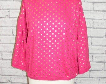 Size 24-26 vintage 50s style jumper 3/4 sleeve hot pink with gold polkadots BNWT