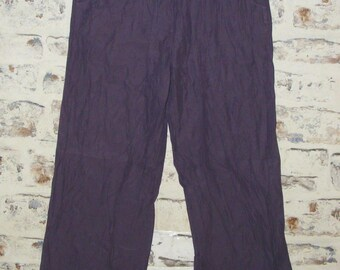 Size 10 vintage 90s gather low waist wide leg trousers purple silk blend (GX99)